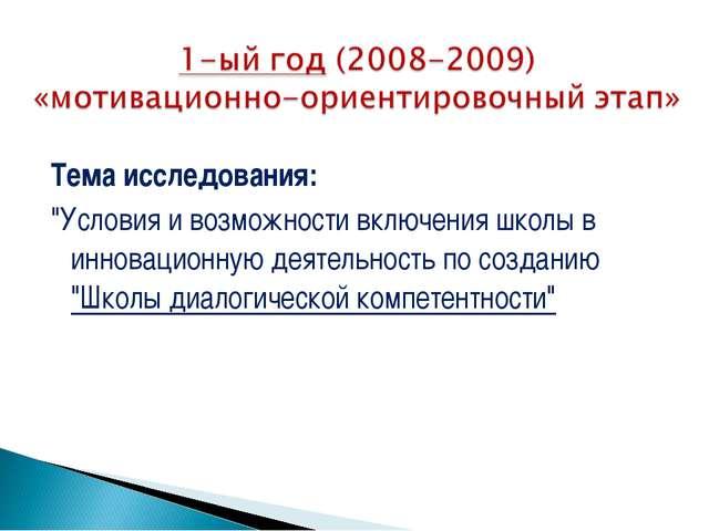 """Тема исследования: """"Условия и возможности включения школы в инновационную д..."""
