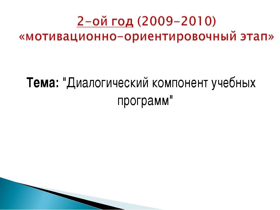 """Тема: """"Диалогический компонент учебных программ"""""""