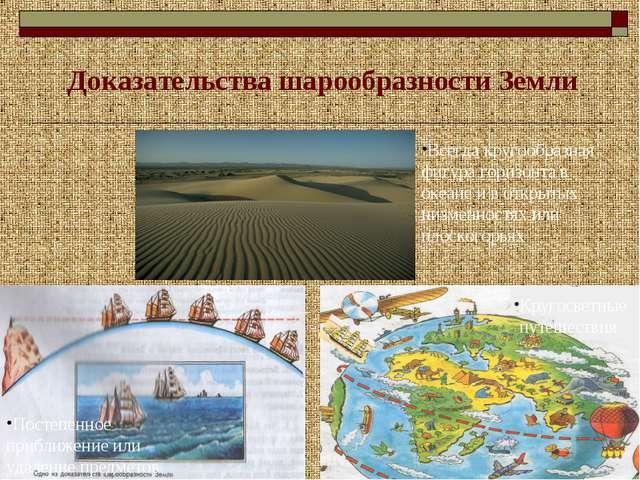 Доказательства шарообразности Земли Всегда кругообразная фигура горизонта в...
