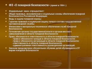 ФЗ «О пожарной безопасности» (принят в 1994 г.) Федеральный закон определяет: