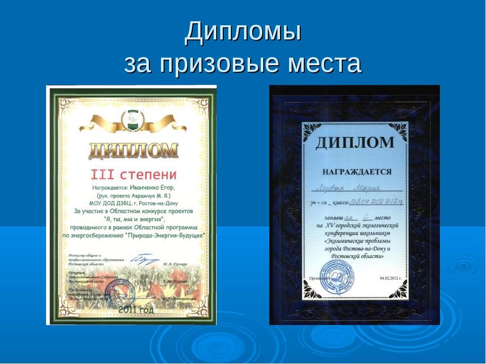 Дипломы за призовые места