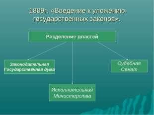 1809г. «Введение к уложению государственных законов».