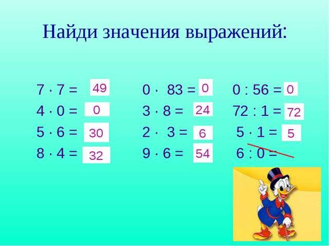 Найди значения выражений: 7 · 7 = 0 · 83 = 0 : 56 = 4 · 0 = 3 · 8 = 72 : 1 =...