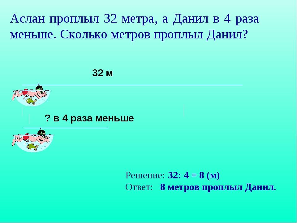Аслан проплыл 32 метра, а Данил в 4 раза меньше. Сколько метров проплыл Данил...