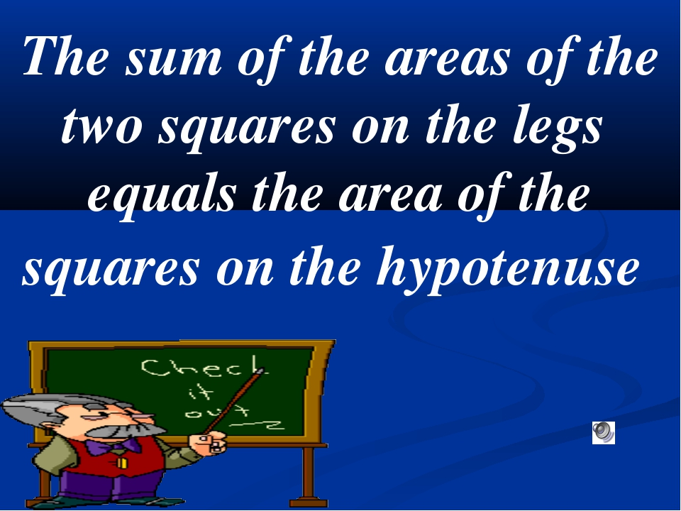 The sum of the areas of the two squares on the legs equals the area of the sq...