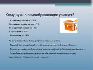 Кому нужно самообразование учителя? А - самому учителю – 92,5% Б - администра