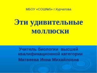 МБОУ «СОШ№5» г.Курчатова Эти удивительные моллюски Учитель биологии высшей кв