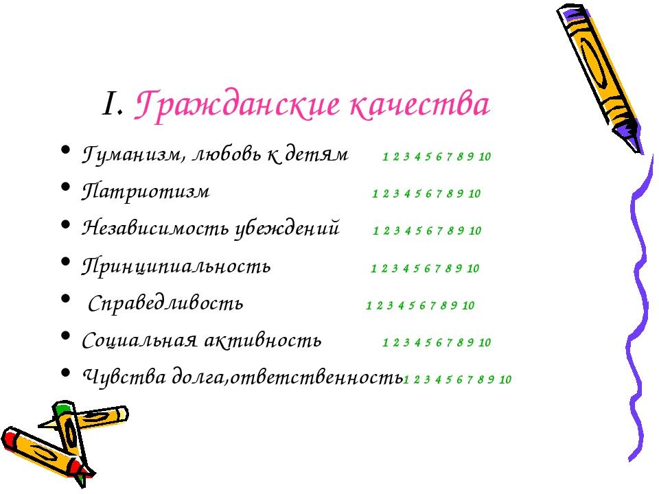 I. Гражданские качества Гуманизм, любовь к детям 1 2 3 4 5 6 7 8 9 10 Патриот...