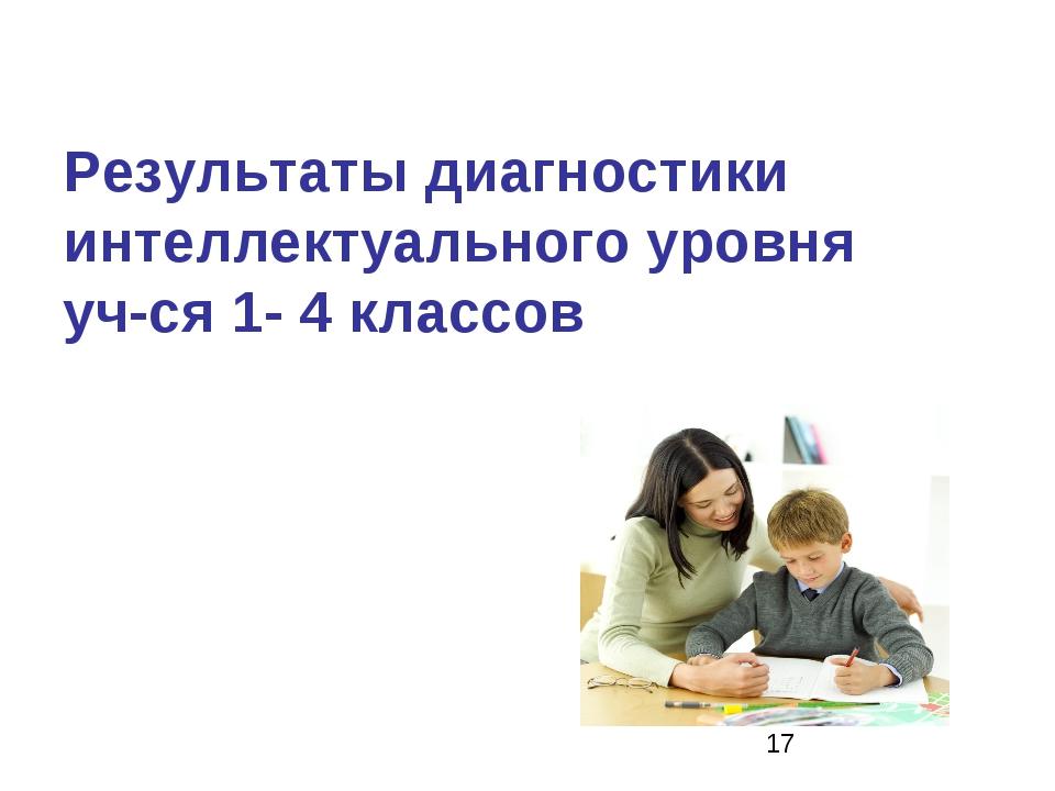 Результаты диагностики интеллектуального уровня уч-ся 1- 4 классов