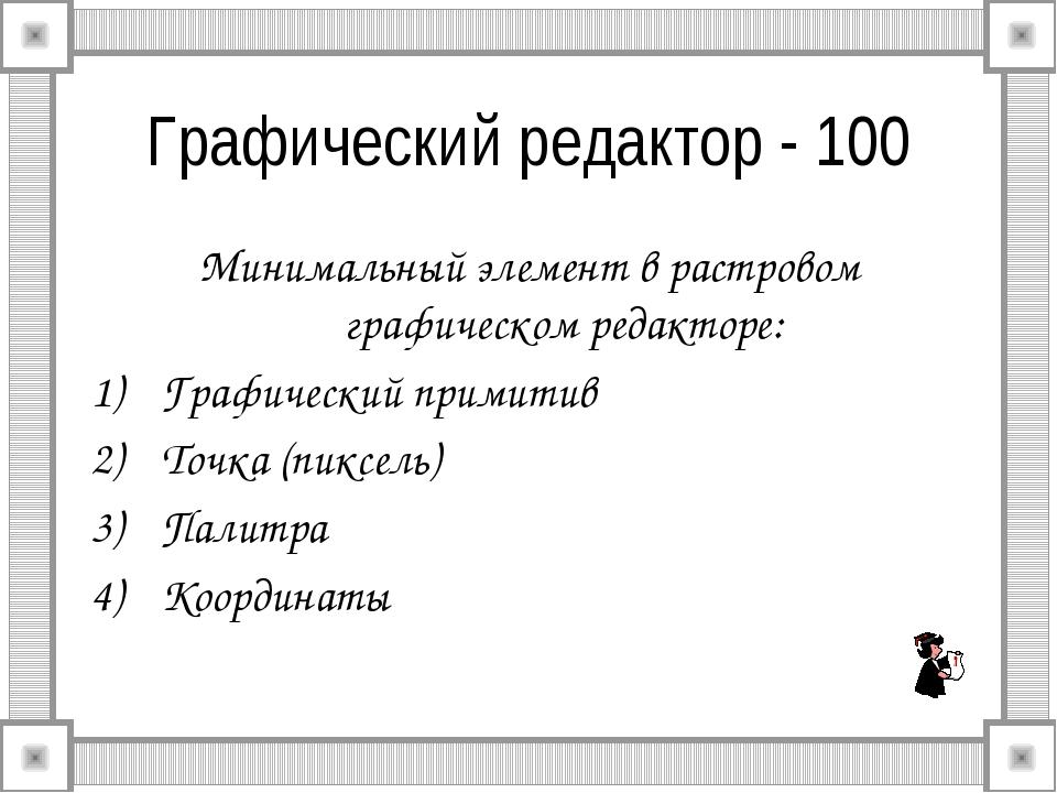 Графический редактор - 100 Минимальный элемент в растровом графическом редакт...