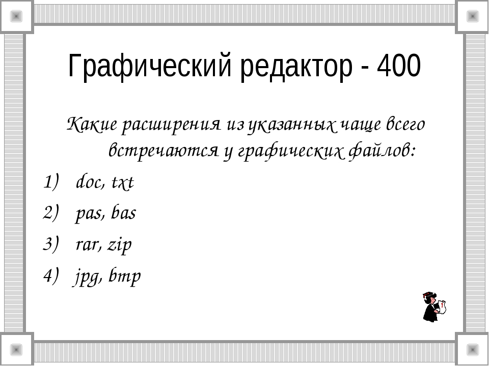 Графический редактор - 400 Какие расширения из указанных чаще всего встречают...