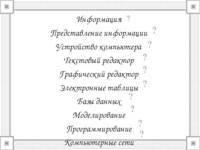Информация Представление информации Устройство компьютера Текстовый редактор...