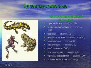 * Ядовитые животные Всего существует около 5 тыс. видов : простейших — около