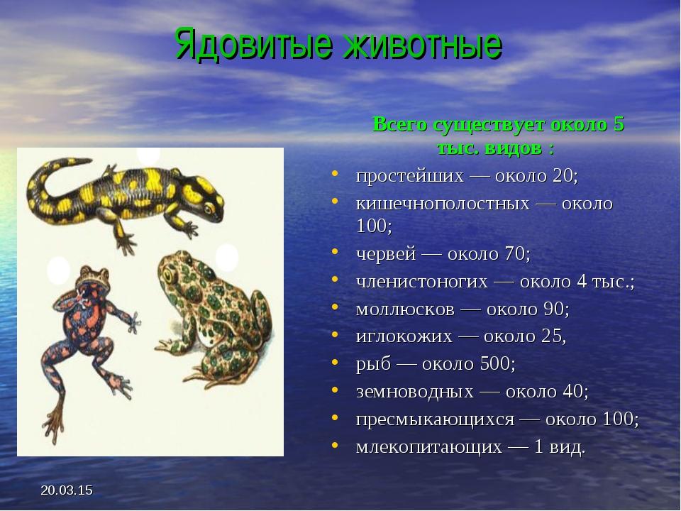 * Ядовитые животные Всего существует около 5 тыс. видов : простейших — около...