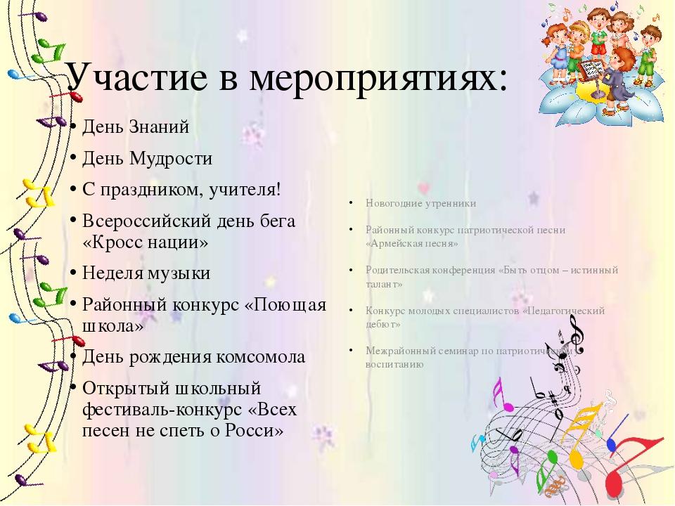 Участие в мероприятиях: День Знаний День Мудрости С праздником, учителя! Все...