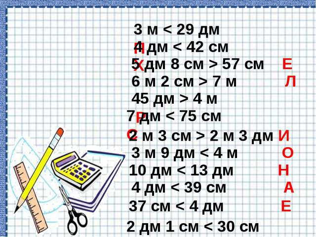 3 м < 29 дм П 4 дм < 42 см Х 5 дм 8 см > 57 см Е 6 м 2 см > 7 м Л 45 дм > 4...