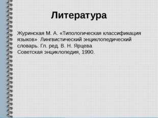 Литература Журинская М. А. «Типологическая классификация языков» Лингвистичес