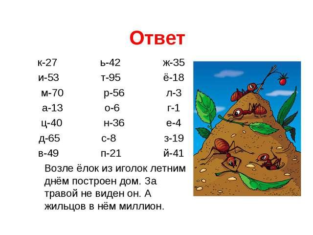 Ответ к-27ь-42ж-35 и-53т-95ё-18 м-70р-56л-3 а-13о-6г-1 ц-40...