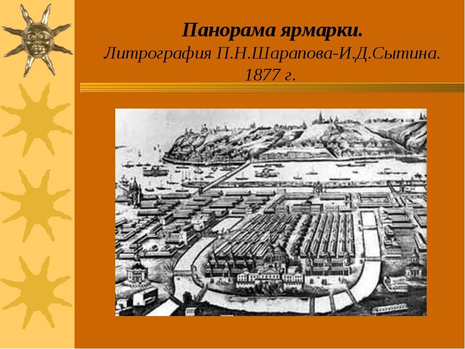 Панорама ярмарки. Литрография П.Н.Шарапова-И.Д.Сытина. 1877 г.