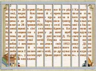 Милували Дмитрові Павличку око його рідні Карпати — високі, вкриті буковими й