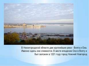 В Нижегородской области две крупнейшие реки -Волга и Ока. Именно здесь они с