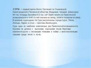 СУРА— правый приток Волги. Протекает по Ульяновской, Нижегородской и Пензе