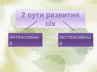 2 пути развития с/х интенсивный экстенсивный