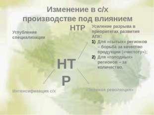 Изменение в с/х производстве под влиянием НТР НТР Углубление специализации Ин