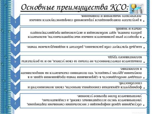 Основные преимущества КСО: