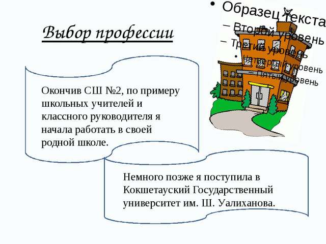 Выбор профессии Окончив СШ №2, по примеру школьных учителей и классного руко...