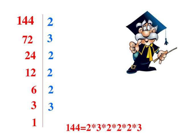 144 2 72 3 24 2 12 2 6 2 3 3 1 144=2*3*2*2*2*3