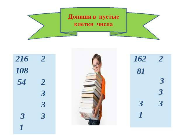 Допиши в пустые клетки числа 216 2 108 54 2 3 3 3 3 1 162 2 81 3 3 3 3 1
