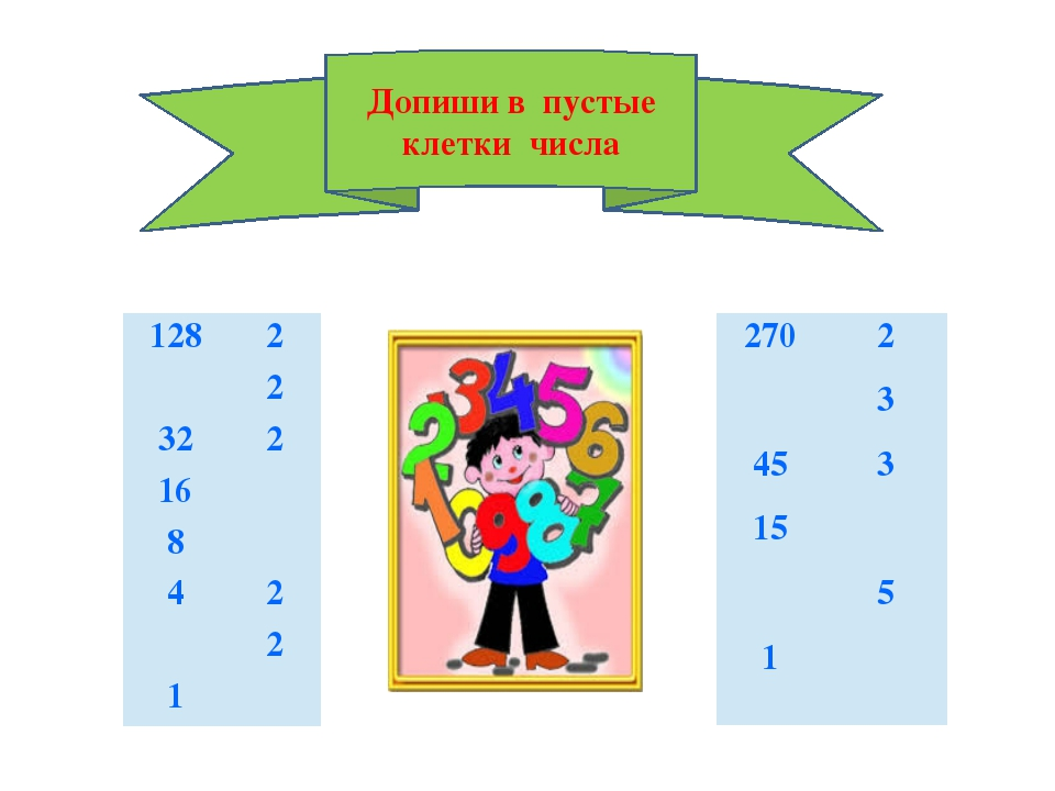 Допиши в пустые клетки числа 128 2 2 32 2 16 8 4 2 2 1 270 2 3 45 3 15 5 1