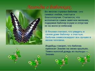 Легенды о бабочках. Во многих странах бабочка - это символ любви, счастья и б