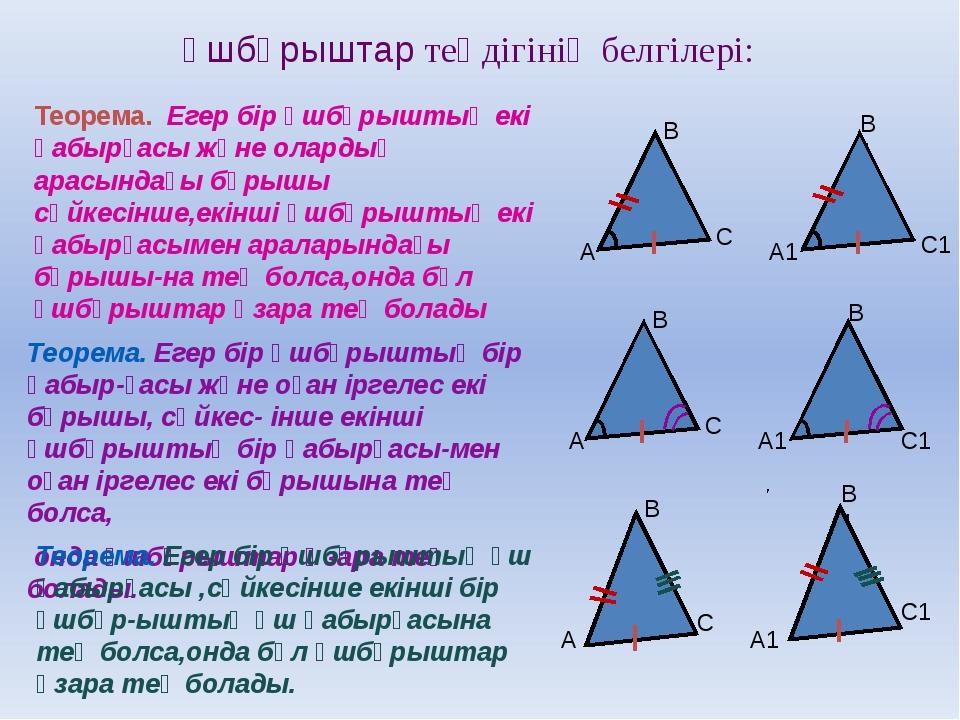 Үшбұрыштар теңдігінің белгілері: Теорема. Егер бір үшбұрыштың екі қабырғасы ж...