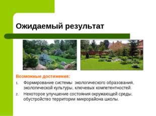 Ожидаемый результат Возможные достижения: Формирование системы экологического
