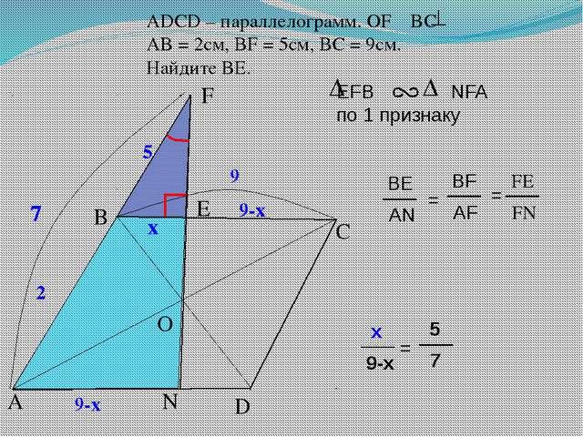 2 2 ADСD – параллелограмм. OF BC AB = 2см, BF = 5см, ВС = 9см. Найдите BЕ. B...