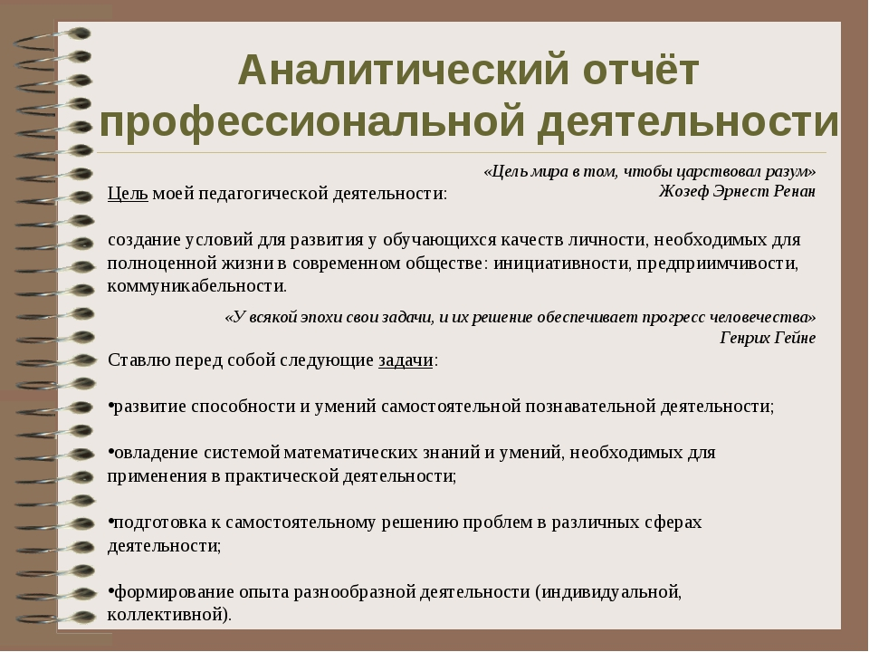 Аналитический отчёт профессиональной деятельности Цель моей педагогической де...