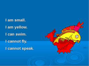 I am small. I am yellow. I can swim. I cannot fly. I cannot speak.