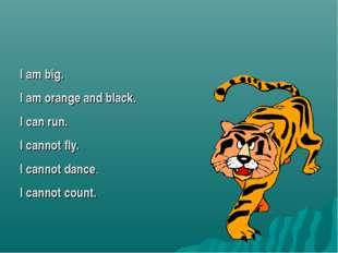 I am big. I am orange and black. I can run. I cannot fly. I cannot dance. I c
