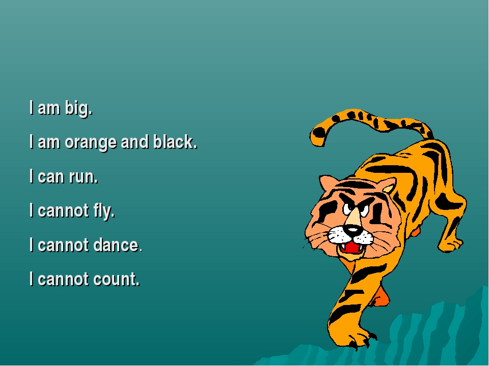 I am big. I am orange and black. I can run. I cannot fly. I cannot dance. I c...