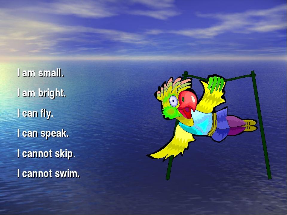 I am small. I am bright. I can fly. I can speak. I cannot skip. I cannot swim.