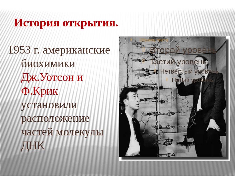 История открытия. 1953 г. американские биохимики Дж.Уотсон и Ф.Крик установил...