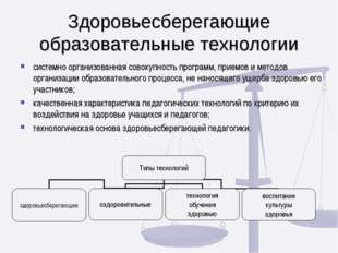 Здоровьесберегающие образовательные технологии системно организованная совоку