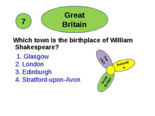 Which town is the birthplace of William Shakespeare? 1. Glasgow 2. London 3.