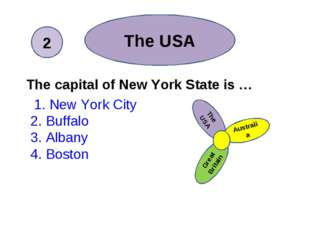 The capital of New York State is … 1. New York City 2. Buffalo 3. Albany 4.