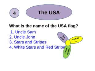What is the name of the USA flag? 1. Uncle Sam 2. Uncle John 3. Stars and St
