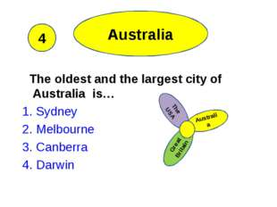 Australia The oldest and the largest city of Australia is… 1. Sydney 2. Melbo