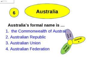 Australia Australia's formal name is … 1. the Commonwealth of Australia 2. Au