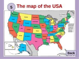 The map of the USA Back 5
